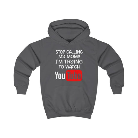 Stop Calling My Mom Kids Hoodie - Charcoal / XS - Kids clothes