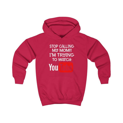 Stop Calling My Mom Kids Hoodie - Fire Red / XS - Kids clothes
