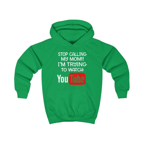 Stop Calling My Mom Kids Hoodie - Kelly Green / XS - Kids clothes