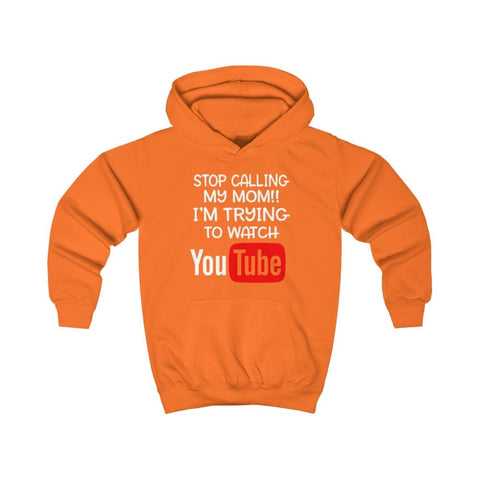 Image of Stop Calling My Mom Kids Hoodie - Orange Crush / XS - Kids clothes