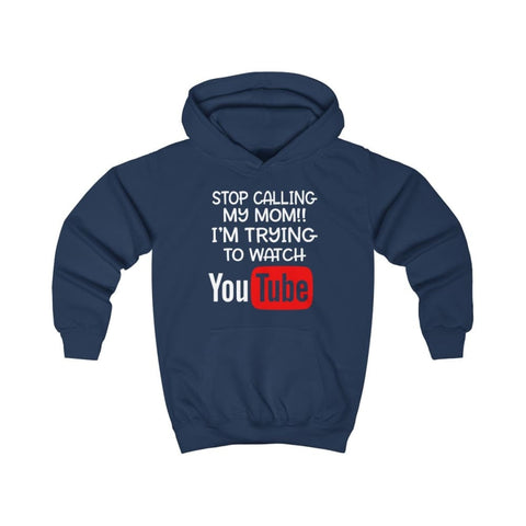 Stop Calling My Mom Kids Hoodie - Oxford Navy / XS - Kids clothes