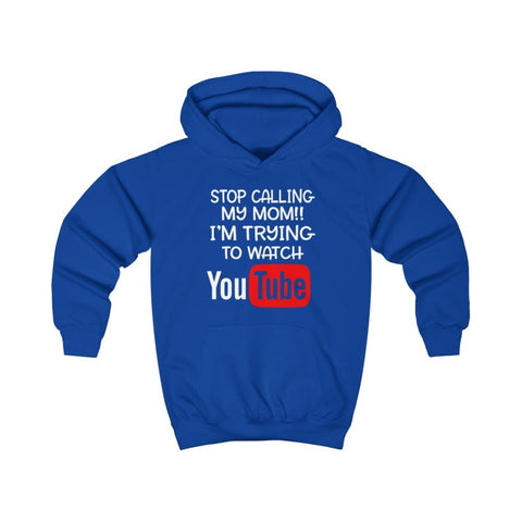 Stop Calling My Mom Kids Hoodie - Royal Blue / XS - Kids clothes