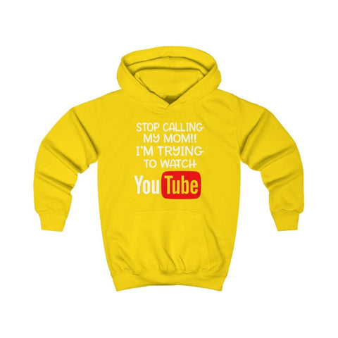 Stop Calling My Mom Kids Hoodie - Sun Yellow / XS - Kids clothes