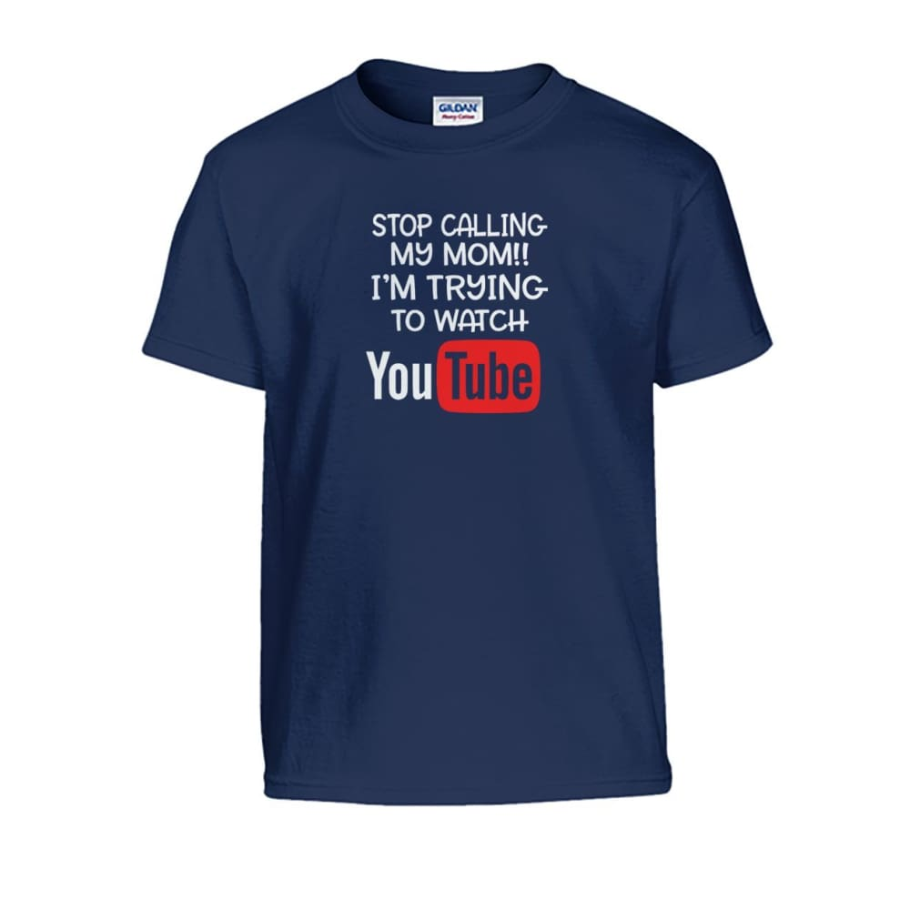 Stop Calling My Mom Kids Tee - Navy / S - Kids
