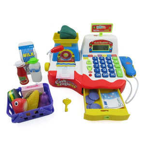Supermarket Cash Register With Checkout Scanner Weight Scale Microphone Calculator Play Money And Food Shopping Playset For Kids