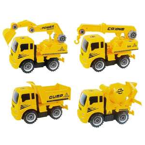 Take-A-Part Friction Powered Construction Trucks With Crane Excavator Mixer Dump Truck