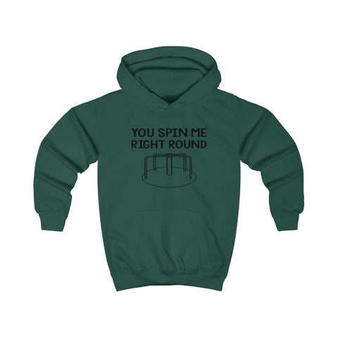 You Spin Me Right Round Kids Hoodie - Bottle Green / XS - Kids clothes
