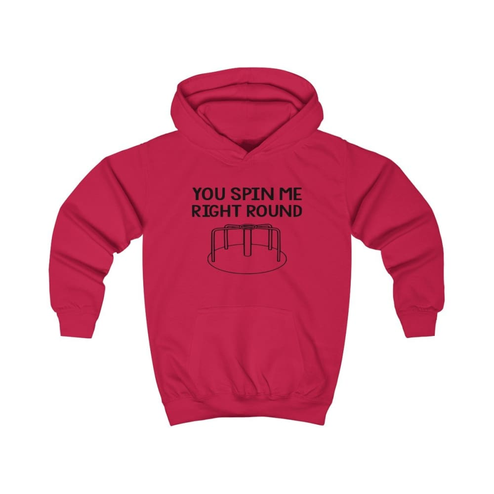 You Spin Me Right Round Kids Hoodie - Fire Red / XS - Kids clothes