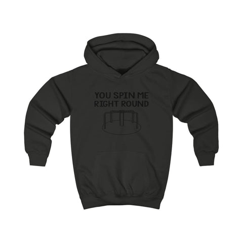 You Spin Me Right Round Kids Hoodie - Jet Black / XS - Kids clothes