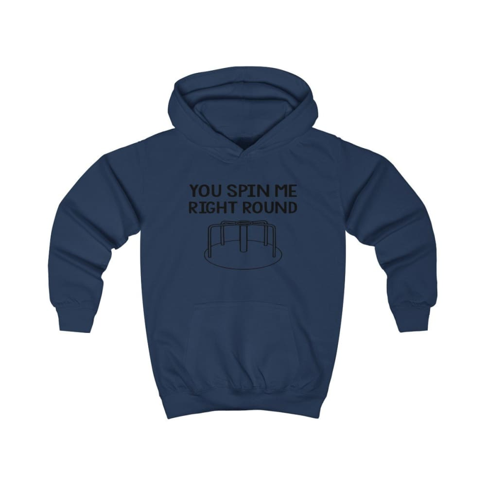 You Spin Me Right Round Kids Hoodie - Oxford Navy / XS - Kids clothes
