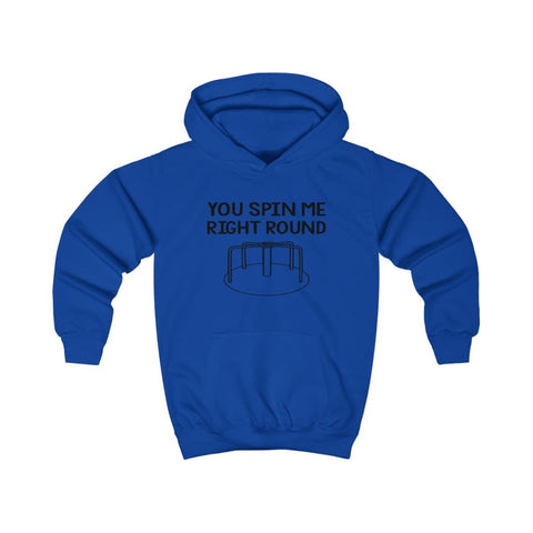 You Spin Me Right Round Kids Hoodie - Royal Blue / XS - Kids clothes