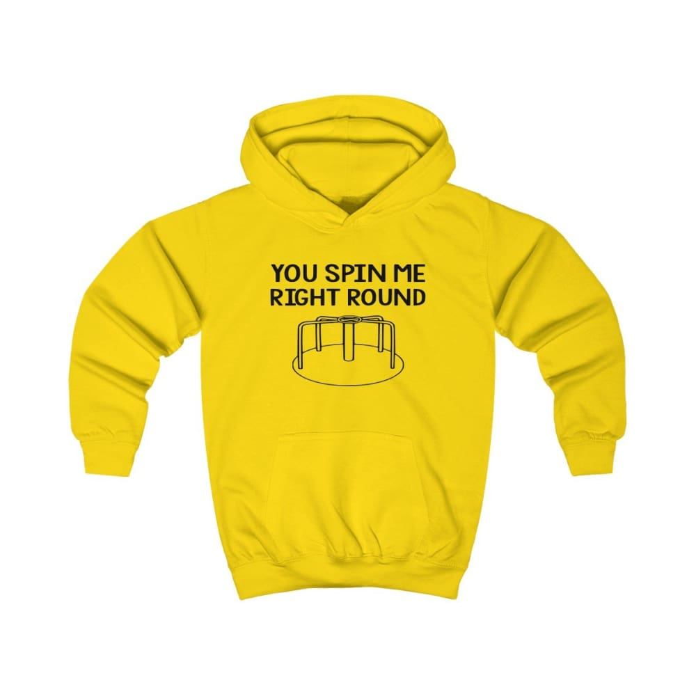 You Spin Me Right Round Kids Hoodie - Sun Yellow / XS - Kids clothes