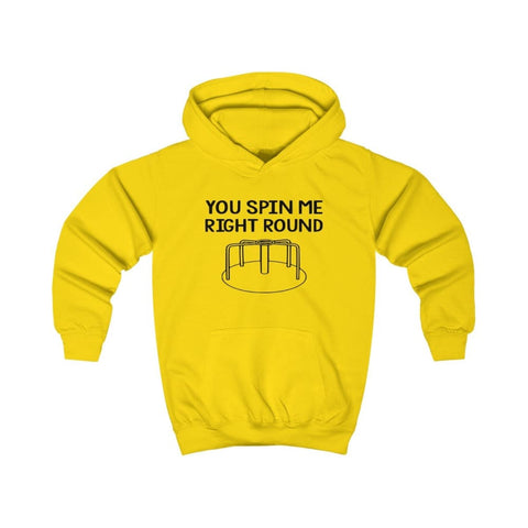 Image of You Spin Me Right Round Kids Hoodie - Sun Yellow / XS - Kids clothes