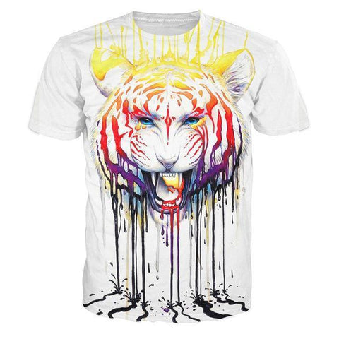Paint Drip Tiger 3D T-Shirt