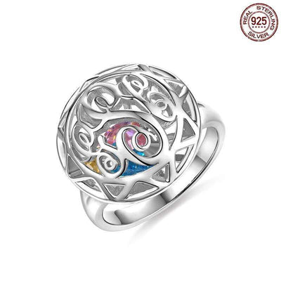 Personalized Monogram Initials Cage Ring with Heart Birthstones - white gold color - Lou Brighton