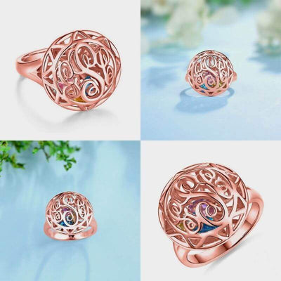 Personalized Monogram Initials Cage Ring with Heart Birthstones - rose gold color - Lou Brighton