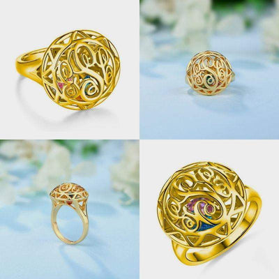 Personalized Monogram Initials Cage Ring with Heart Birthstones - gold color - Lou Brighton