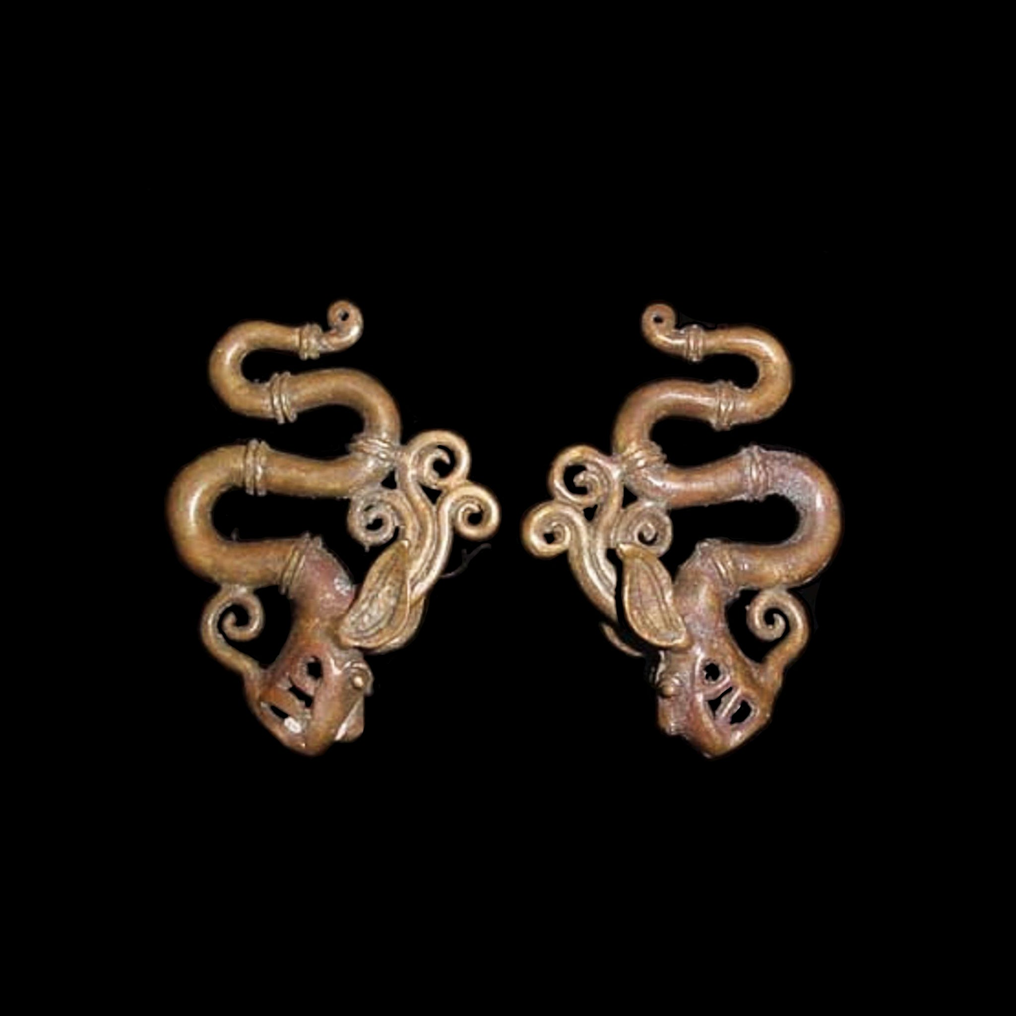 Dayak Ear Weights, Dragon - Aso Motif