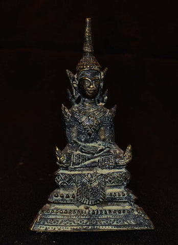 Older Thin Cast Buddha In Regal Attire