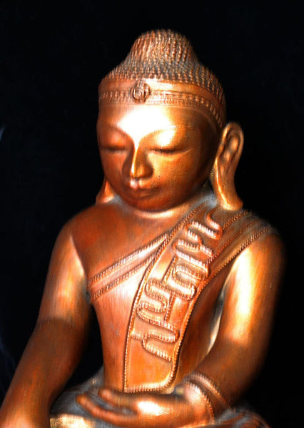 Old Burmese Lacquer Buddha Image, Wonderful Countenance