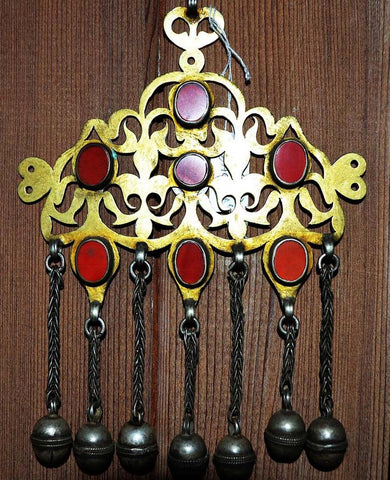 Tekke Turkoman Amulet Talismanic Pectoral Pendant, Silver and Fire Gilded Gold With Carnelian