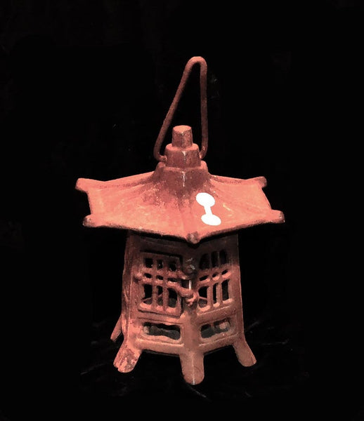 Old Cast Iron Pagoda Lamp From Japan