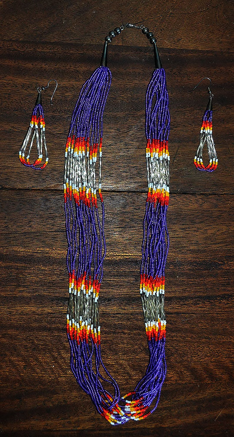 Cherokee Style Long Necklace With Matching Earrings