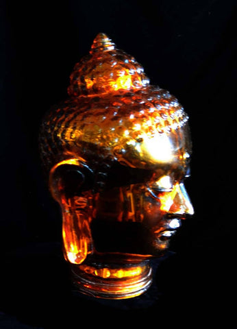 Glass Head Of Buddha, Gold Tint