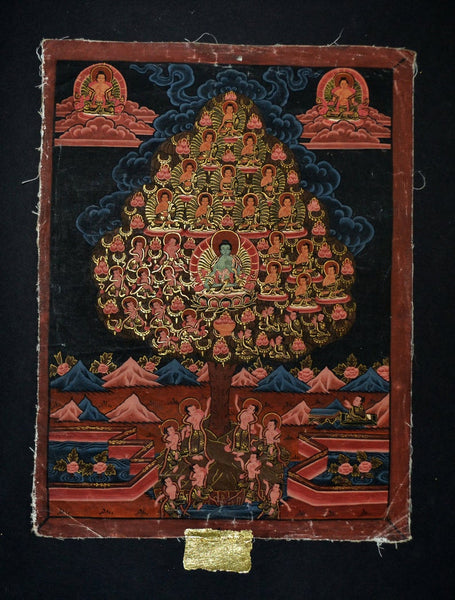 Thangka with Amoghasiddhi in Refuge Tree