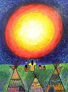 Original Painting by Kills Thunder 'Greeting the Sun'