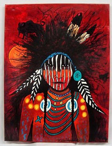 Kills Thunder, original acrylic on canvas, 'Chief Red Feather'