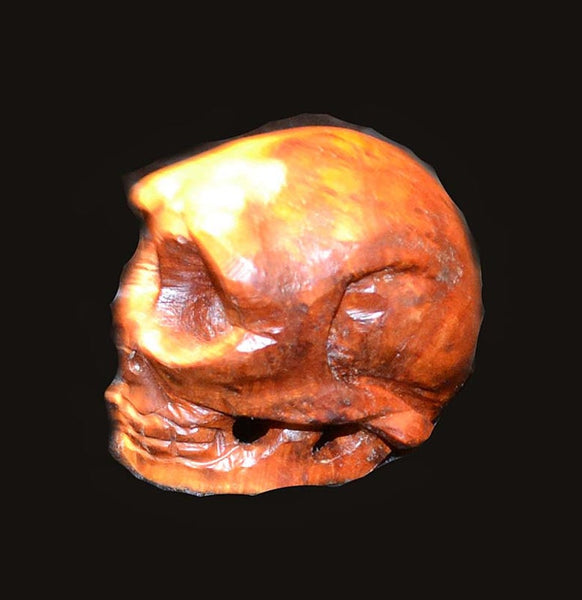 Carved Boxwood Burl Skull From Japan