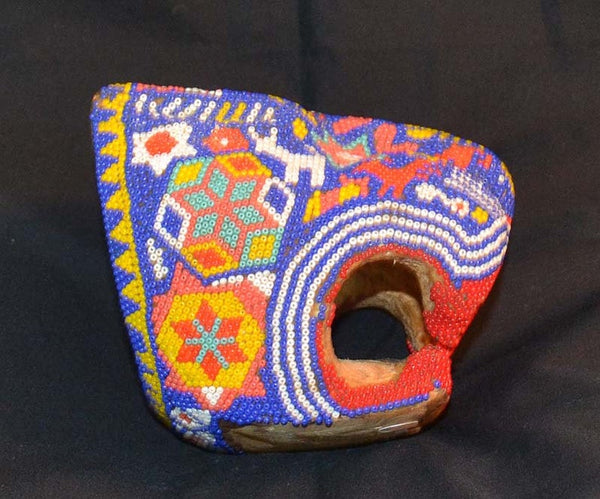 Early Beaded Jaguar Head, Huichol People