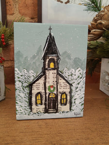 Christmas Hymnal Church Original Mixed Media Art