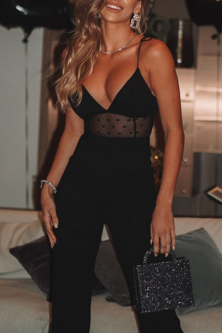 Jumpsuits & Rompers Lux Allure - Black Polka Dot Jumpsuit - The Luxstop