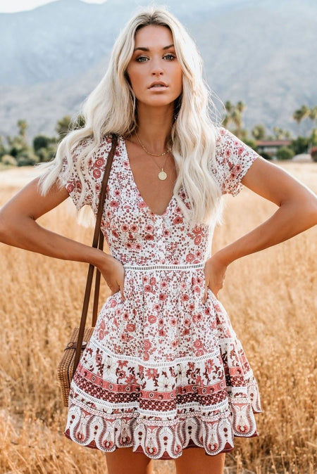 Floral Dresses Lux Allure - Short Sleeve Floral Dress - The Luxstop