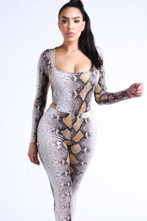 Lux Allure - Snake Printed Bodysuit Set - The Luxstop