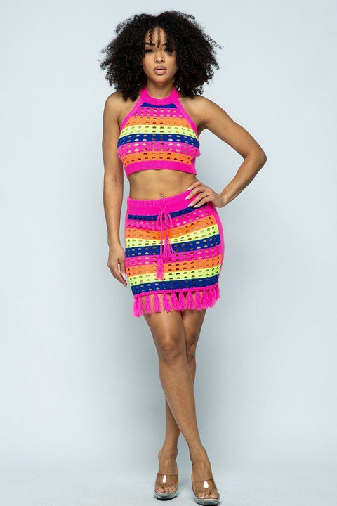 Lux Allure - Striped Multi Color Halter Crop Top Set - The Luxstop