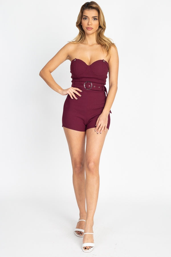 Jumpsuits & Rompers Lux Allure -Belted Tube Romper - The Luxstop