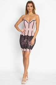 Lux Allure - Contrast Lace Mini Dress - The Luxstop