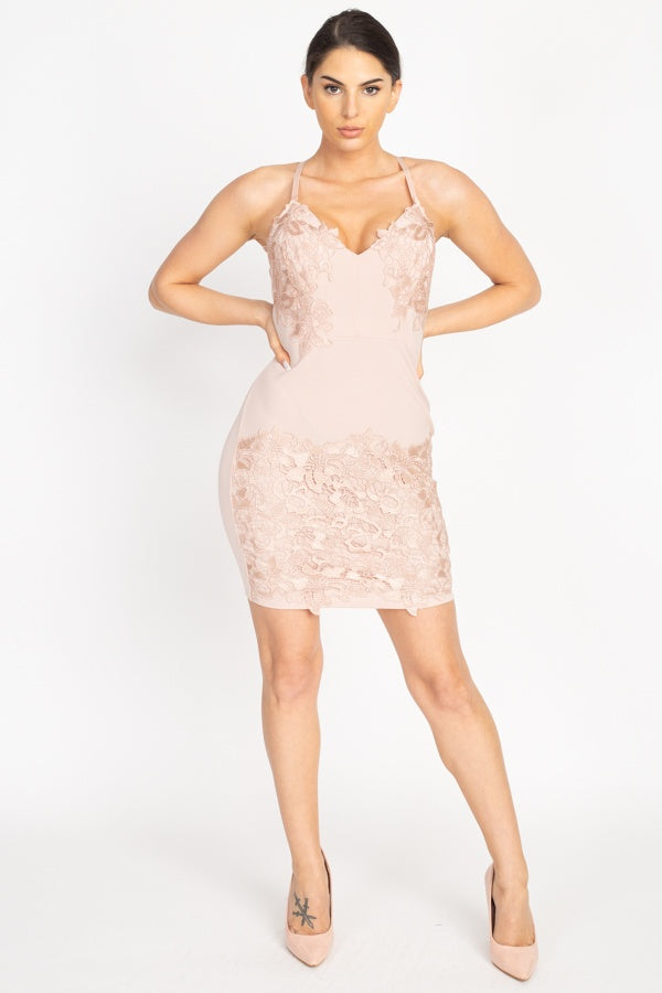 Lux Allure - Embroidered Lace Mini Dress - The Luxstop