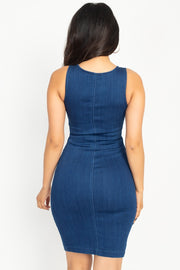 Lux Allure - Sleeveless Double Zipper Dress - The Luxstop