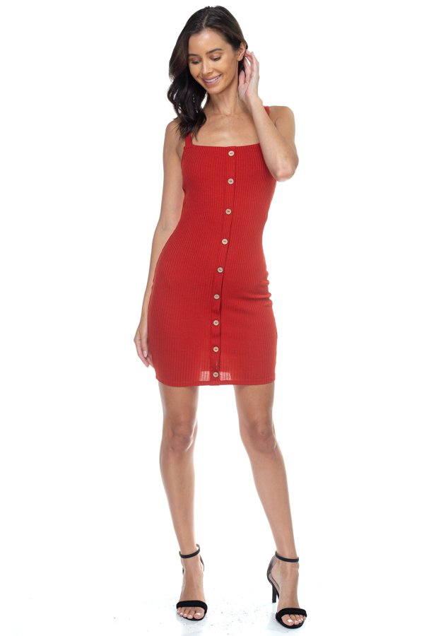 It's Friday - Button Down Ribbed Mini Dress - The Luxstop