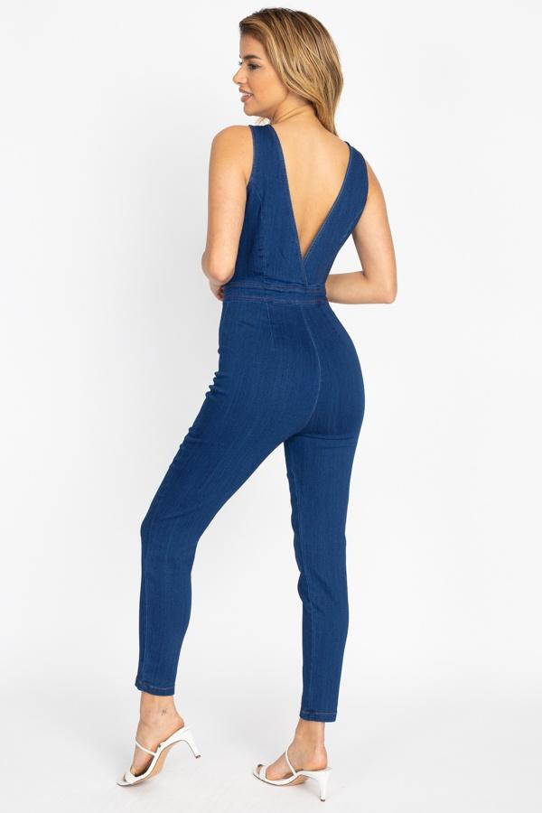 Denim G.O.A.T - Zip Front V Neck Jumpsuit - The Luxstop
