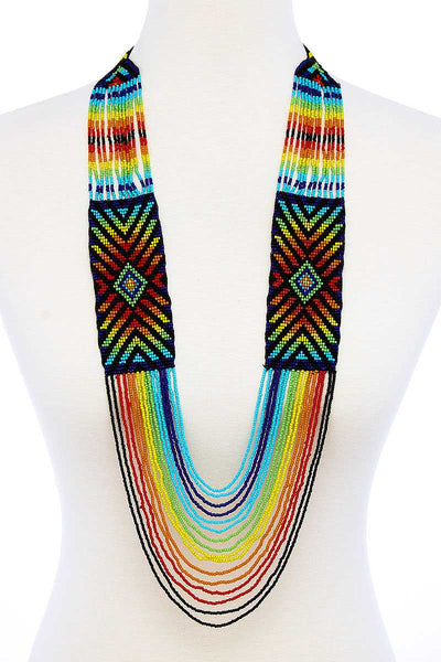 Fashion Multi Bead Ancient Pattern Long Necklace - The Luxstop