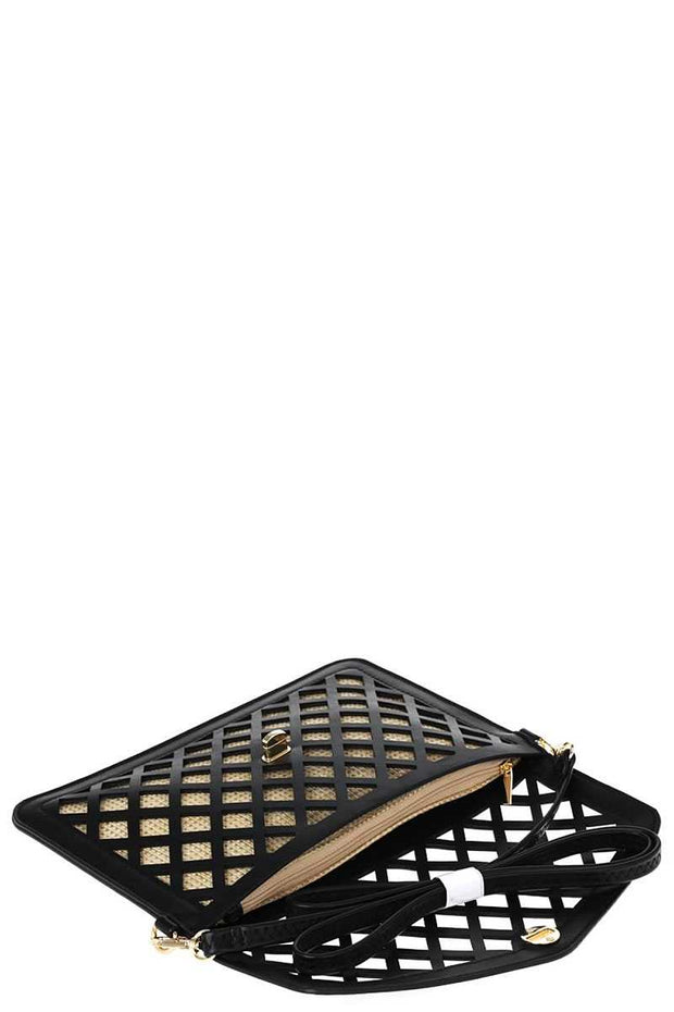 Stylish Diamond Cut Out Envelope Clutch With Shoulder Strap - The Luxstop