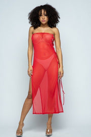 Lux Allure - Solid Mesh Side Lace Up Cover Up Dress - The Luxstop