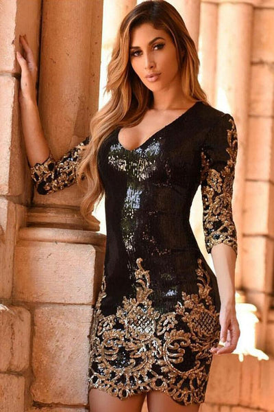 Opal Essence - Victorian Sequin Bodycon Dress - The Luxstop