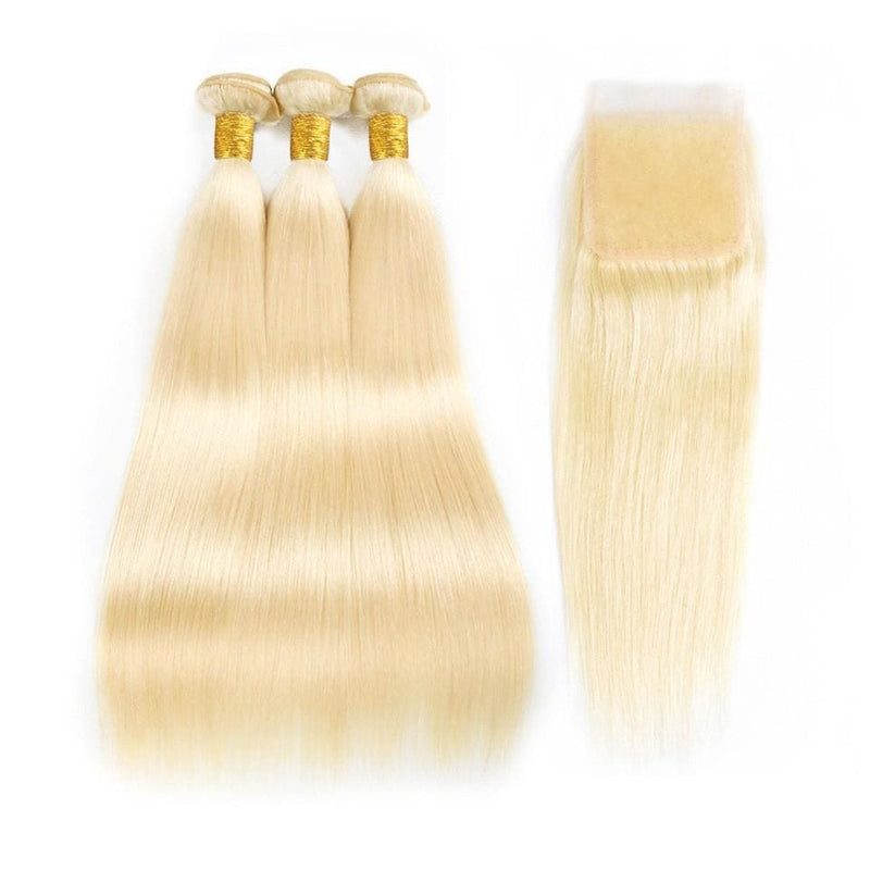 613 Blonde Straight Hair Bundles With Lace Closure Brazilian Remy Hair