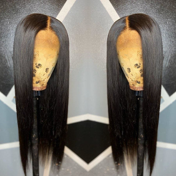 Alisa Pre-Made Double Fake Scalp Silky Straight Human Hair 13x6 Lace Front Wig